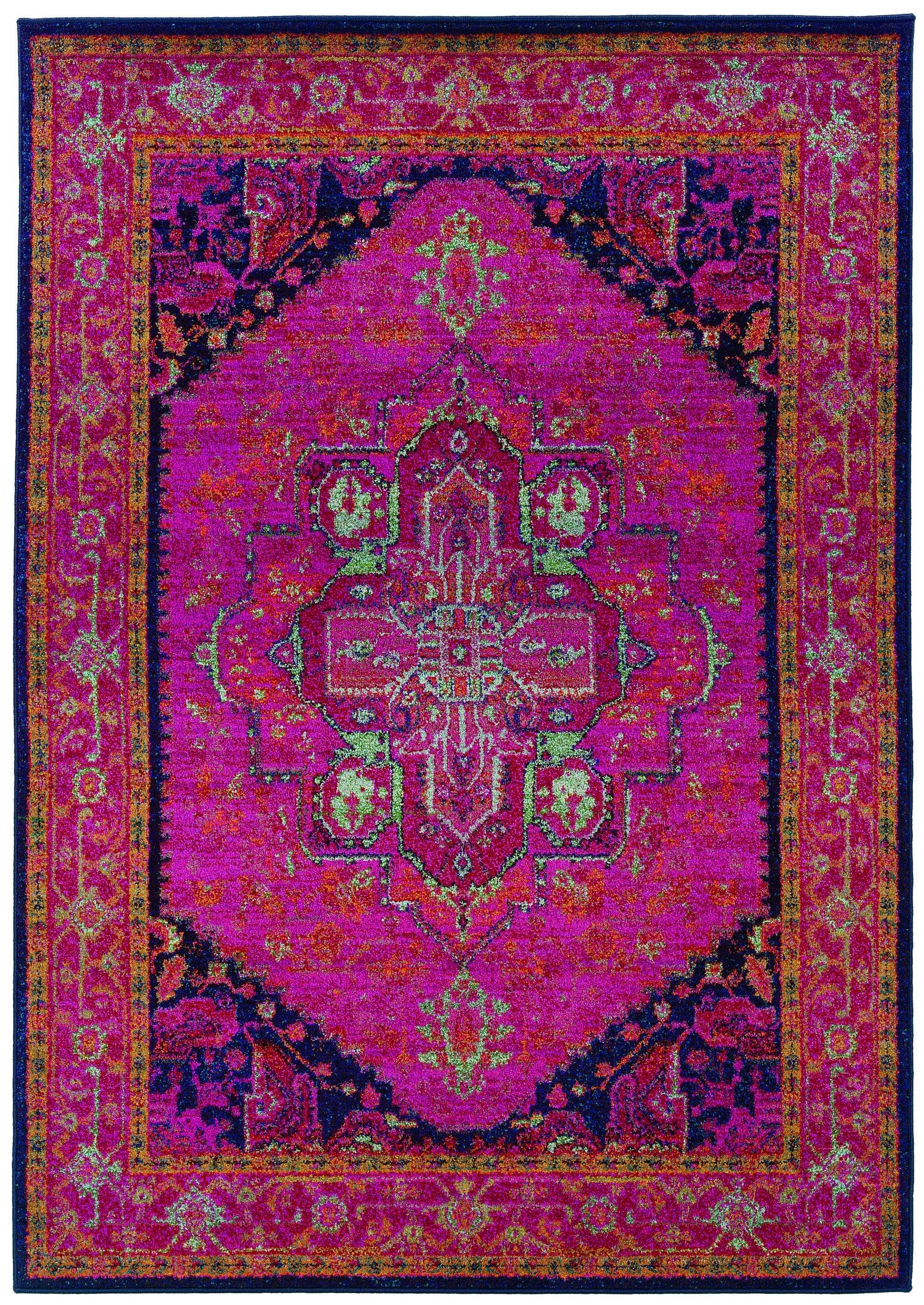 Traditional Oriental Rug Machine Woven Pink Navy Polypropylene For Fuschia Pink Carpets (Image 15 of 15)