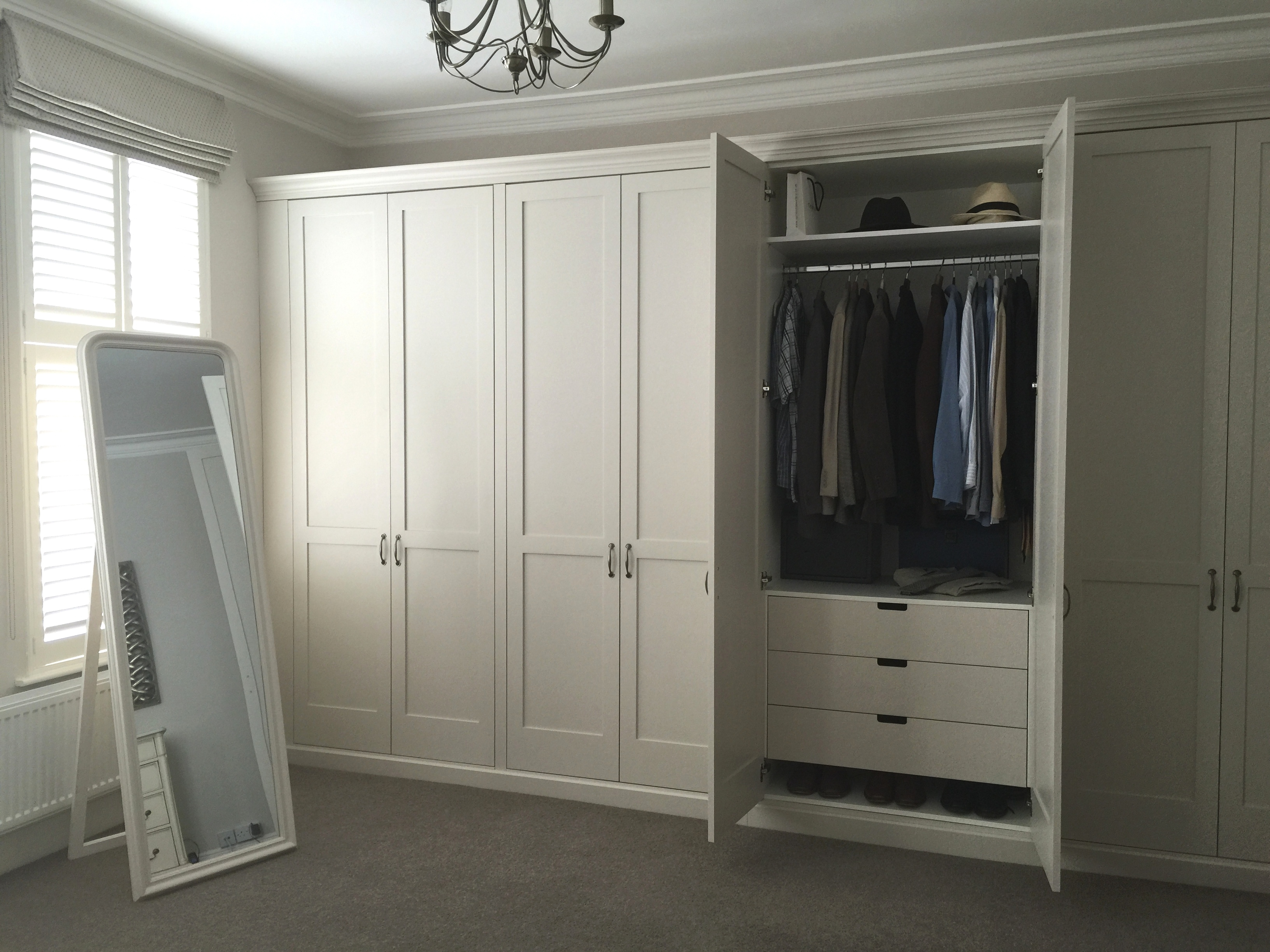 Traditional Shaker Wardrobes With Drawers Inside Shelves And With Wardrobes With Drawers And Shelves (Image 11 of 15)