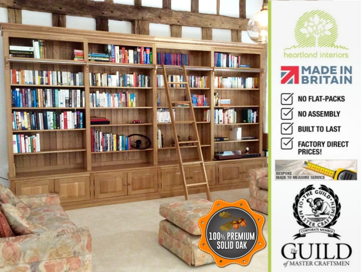 Traditional Solid Oak 8ft X 14ft Library Bookcase With Ladder In Library Cupboards (Image 12 of 15)