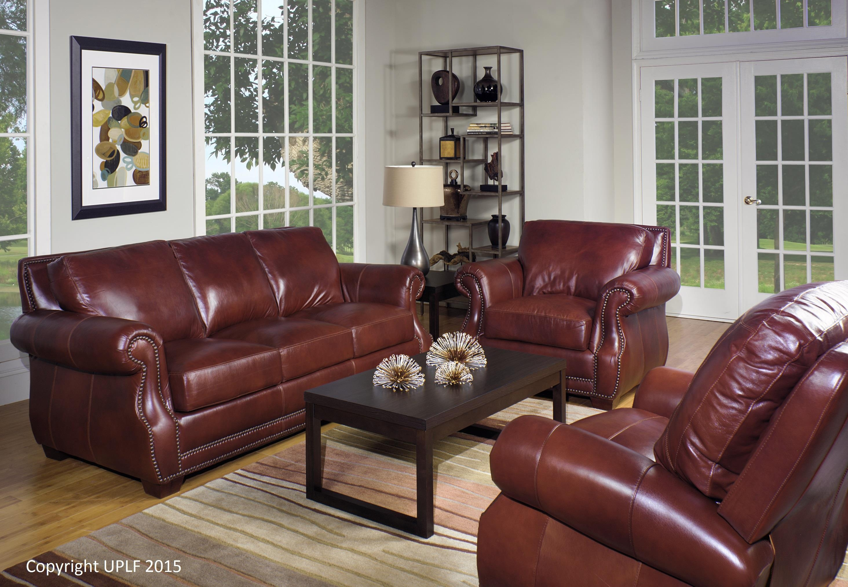 Traditional Top Grain Leather Sofa With Nailhead Trim Usa With Traditional Leather Couch (Image 14 of 15)