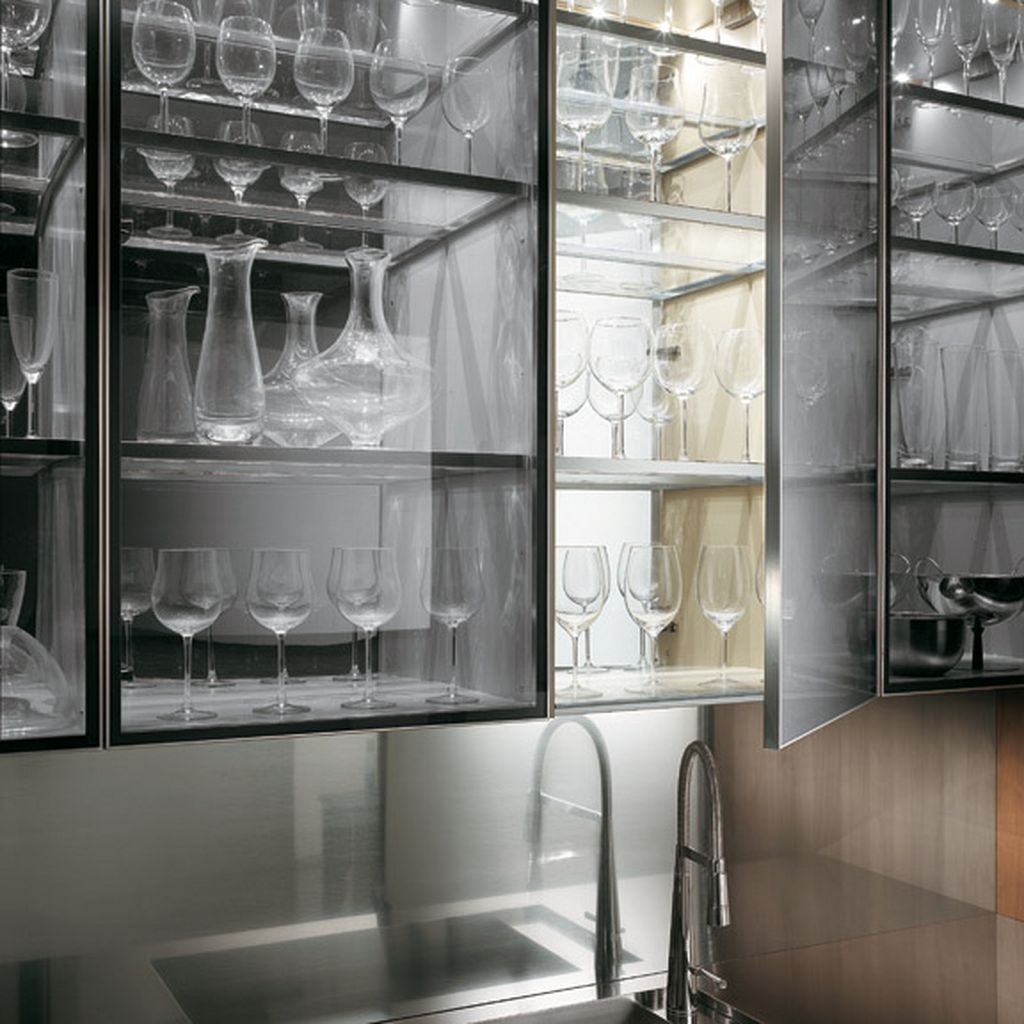 Transparent Glass Cabinet With A Kitchen Faucet In A Natural Intended For Glass Kitchen Shelves (Image 15 of 15)