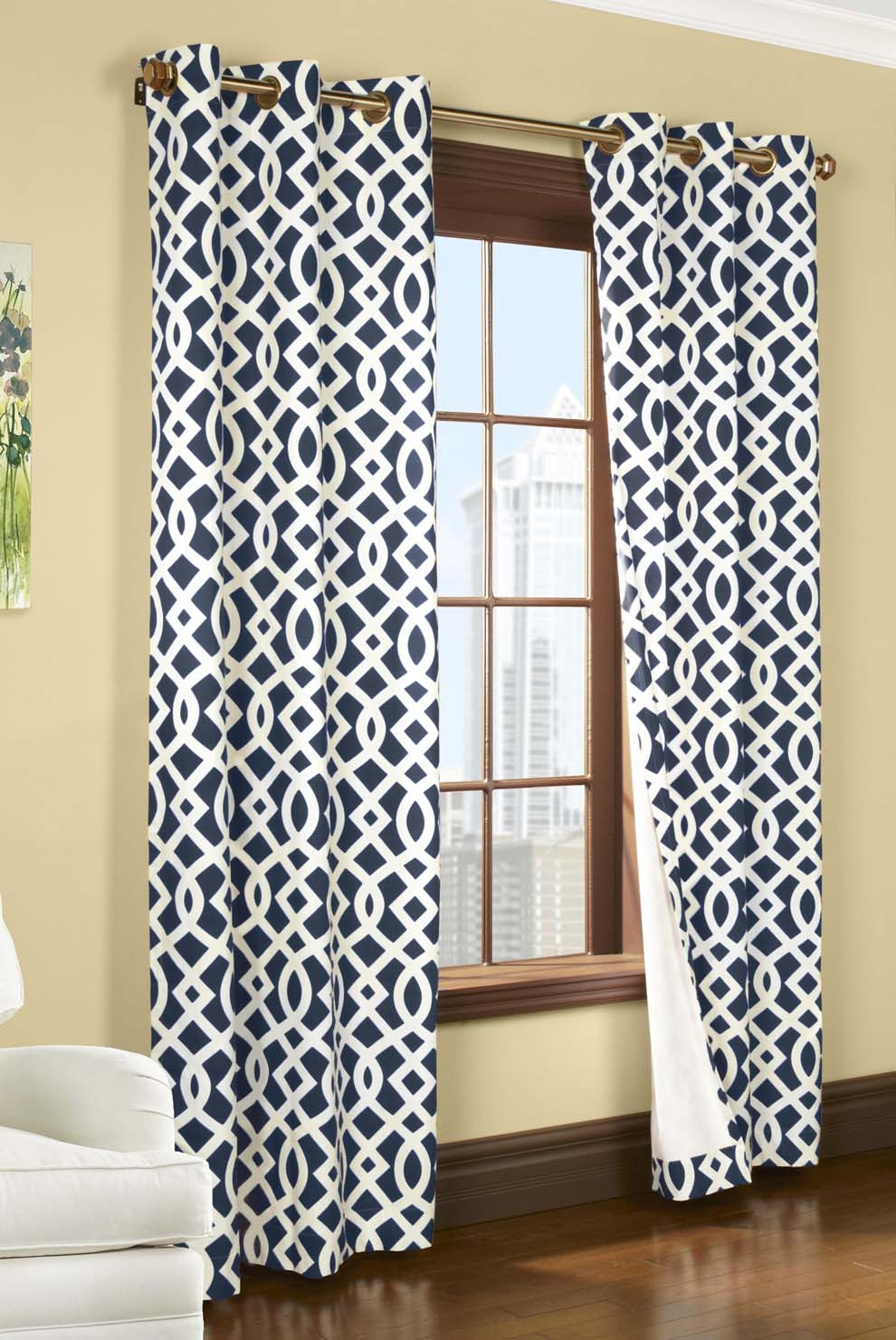 Trellis Insulated Grommet Top Curtains Thermal Drapes Trellis Throughout Turquoise Trellis Curtains (Image 17 of 25)