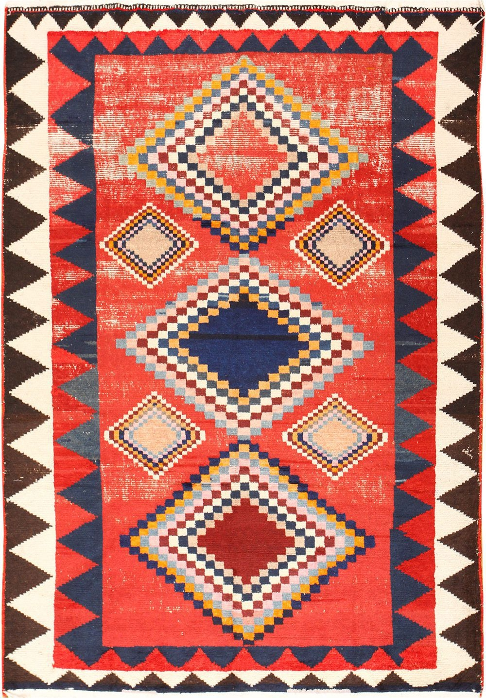 Tribal Shab Chic Vintage Persian Gabbeh Rug 48964 Nazmiyal Intended For Gabbeh Rugs (Image 10 of 15)