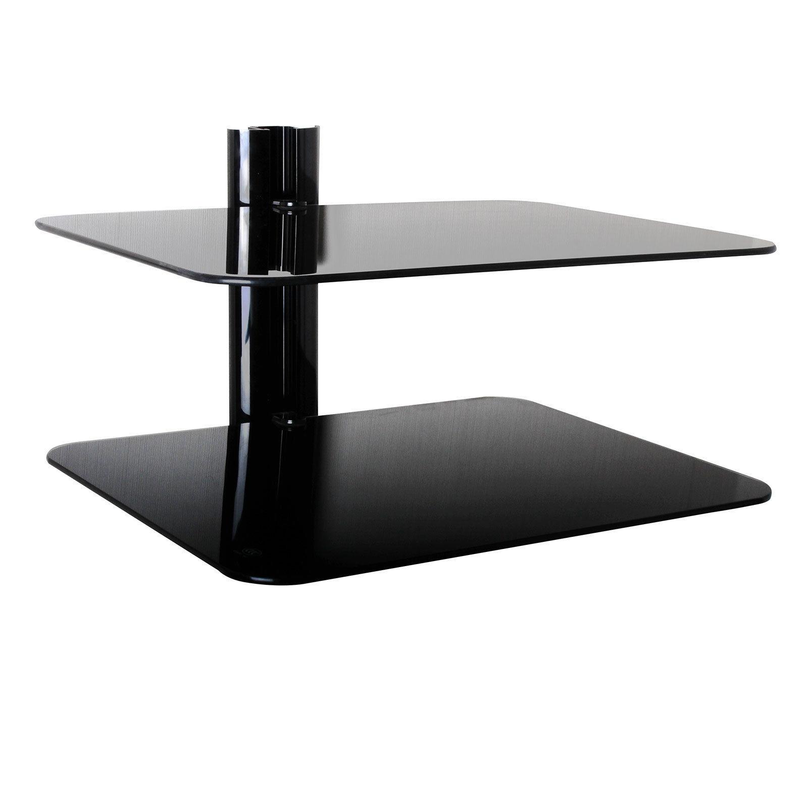 Triple Glass Av Shelving System Inside Black Glass Shelves Wall Mounted (Image 10 of 15)