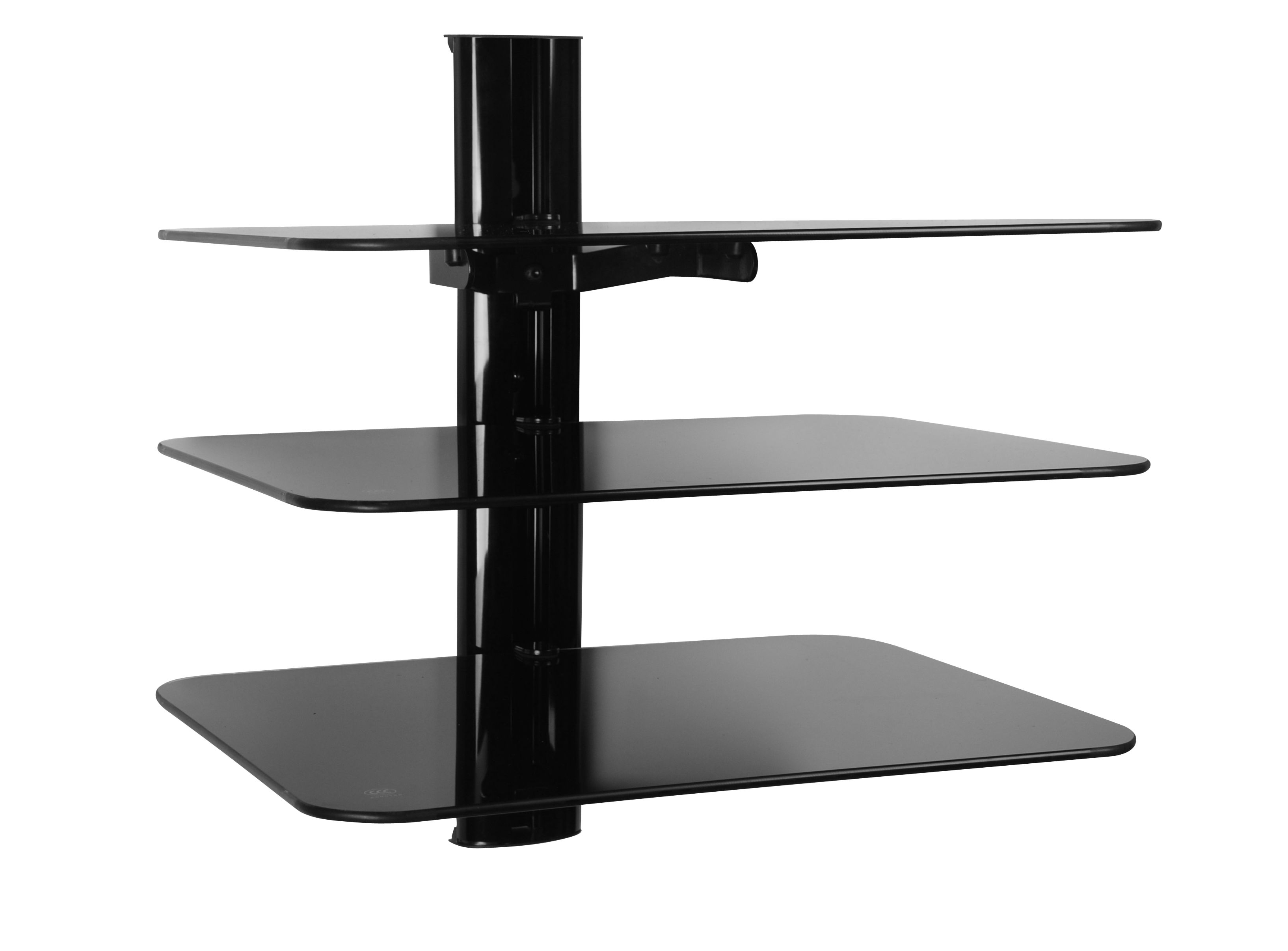 Triple Glass Av Shelving System Within Black Glass Floating Shelves (View 9 of 15)