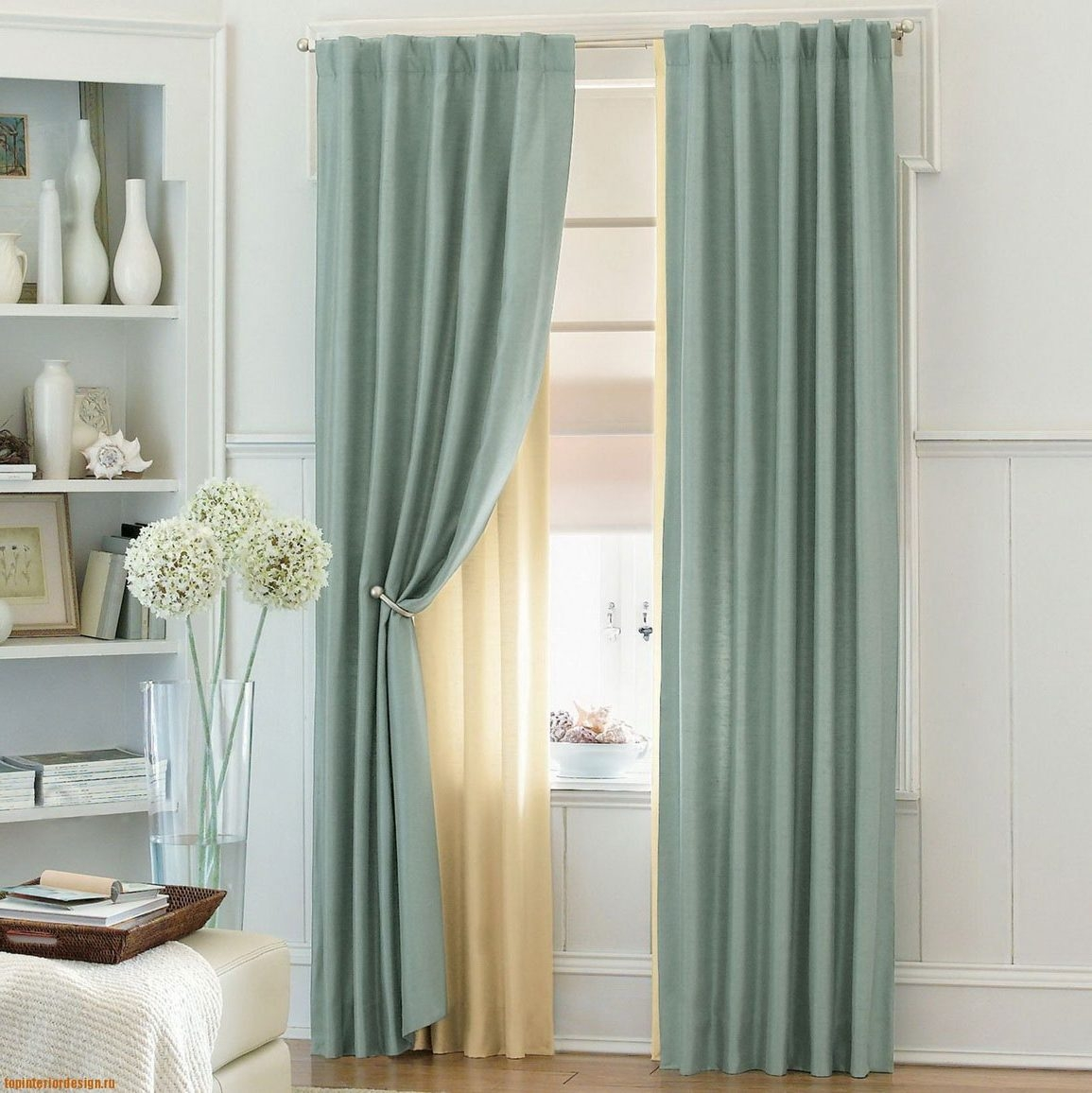 Turquoise Curtains Target Triangle Shape Table As Home Decor With Turquoise Trellis Curtains (Image 18 of 25)