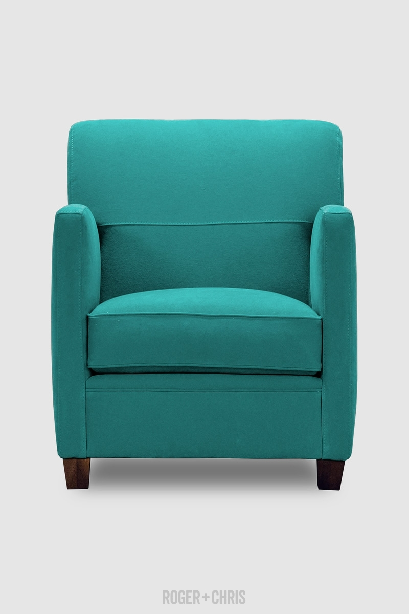 Turquoise Fabric Armchair Compact Armchairs Handmade Pegeen With Regard To Compact Armchairs (Image 15 of 15)