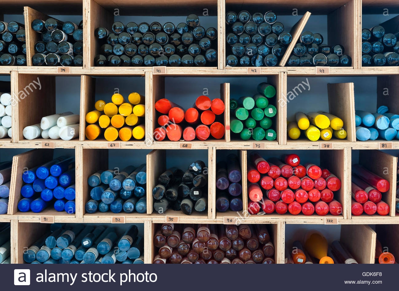 Uk Rods Of Coloured Glass Known As Cane Awaiting Use In A In Coloured Glass Shelves (Image 15 of 15)