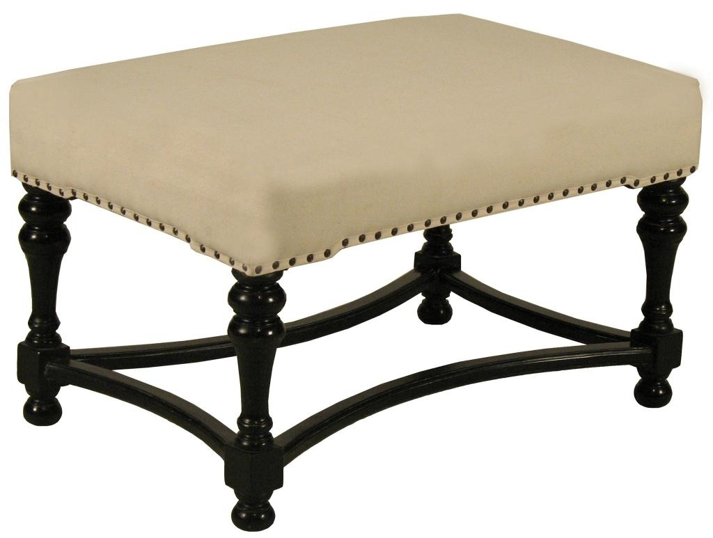 Upholstered Black Footstool For Sale At 1stdibs With Upholstered Footstools (Image 13 of 15)