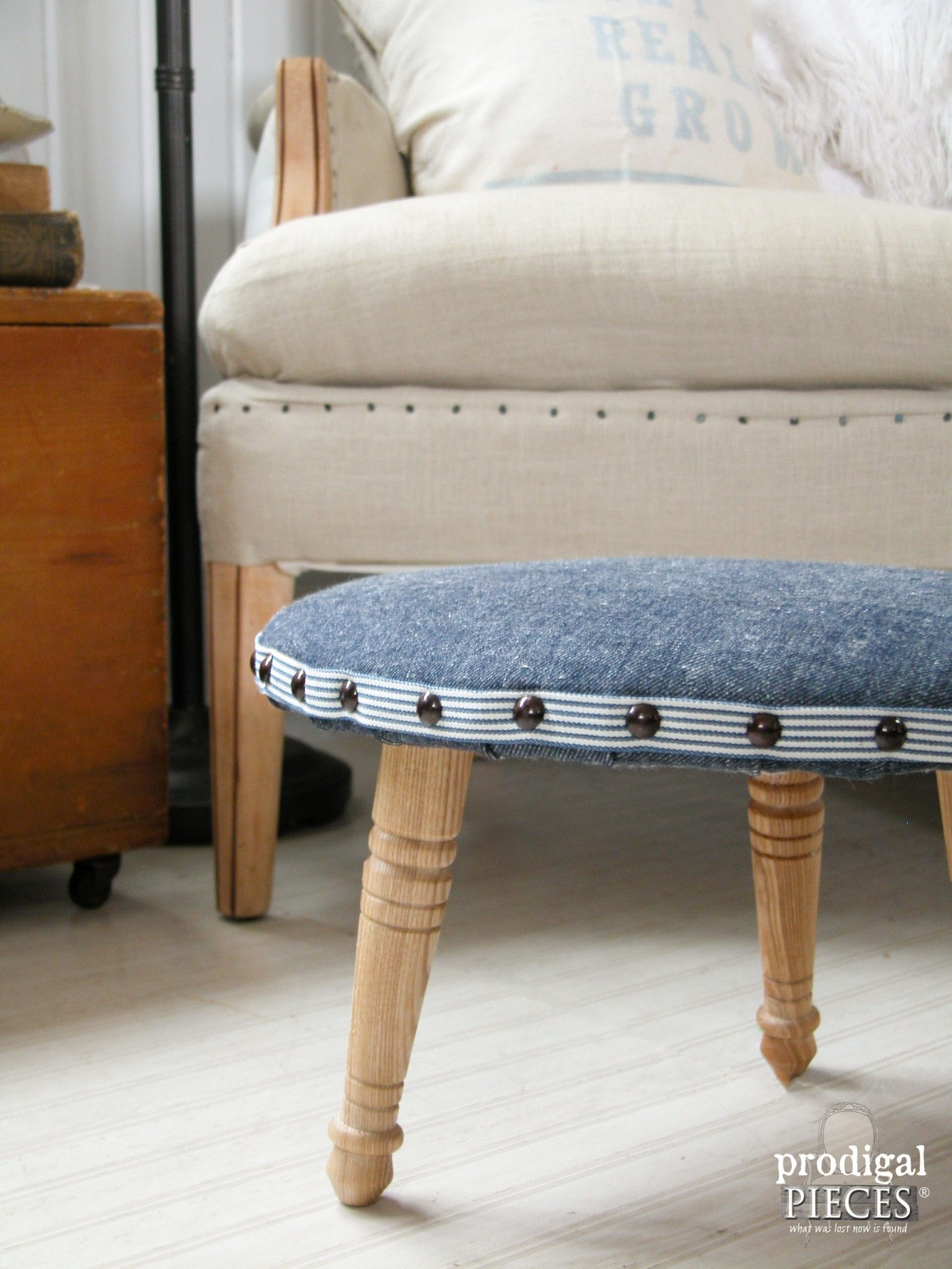 Upholstered Footstool A One Legged Wonder Prodigal Pieces Regarding Upholstered Footstools (Image 14 of 15)