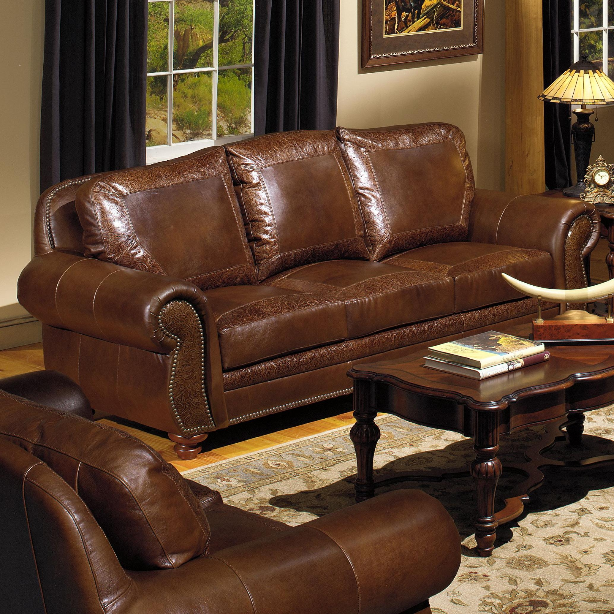 Usa Premium Leather 8555 Traditional Leather Sofa With Nailhead With Regard To Traditional Leather Couch (Image 15 of 15)