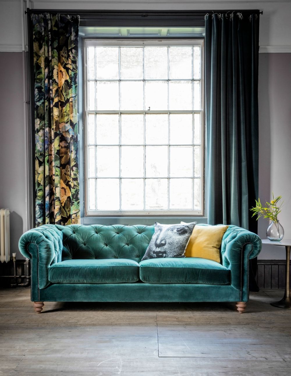 Velvet Chesterfield Sofa Rose Grey Throughout Chesterfield Sofas (Image 15 of 15)