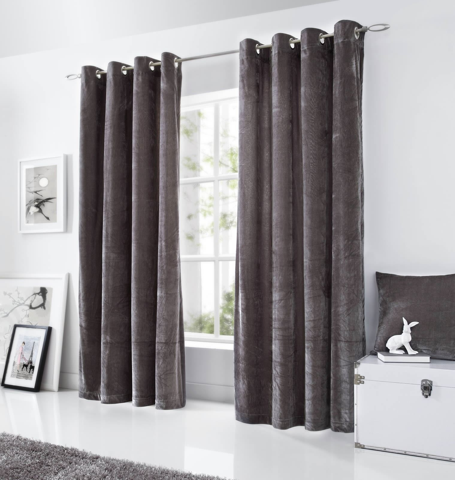 Velvet Eyelet Curtains Lined Ringtop Curtain Pairs Grey Black Mink Intended For Grey Eyelet Curtains (Image 21 of 25)