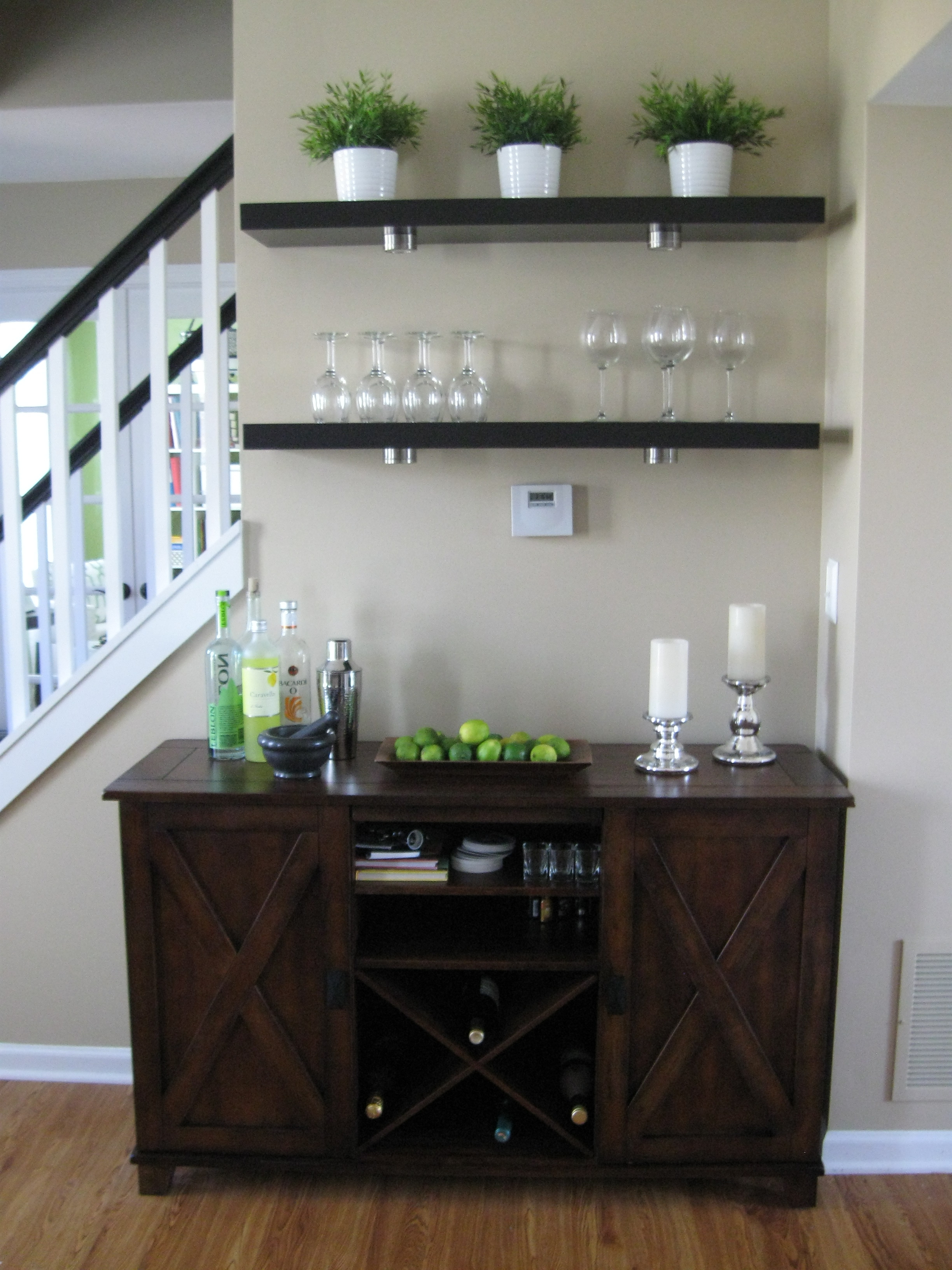 Verona Buffet Ikea Lack Shelves W Wine Glass Storage Underneath Throughout Glass Shelves For Bar Area (Image 15 of 15)