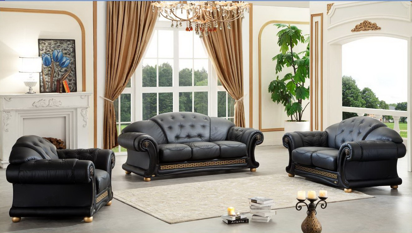 Versace Italian Leather Classic Sofa Set Regarding Sofa Loveseat And Chair Set (Image 15 of 15)
