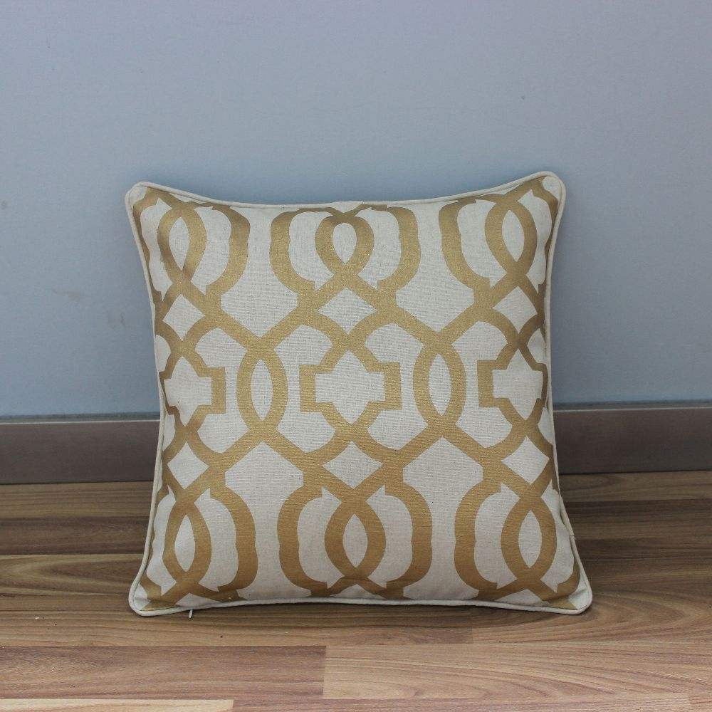 Vezo Home Print Golden Geometric Cotton Linen Sofa Cushions Cover Intended For Cotton Throws For Sofas And Chairs (Image 15 of 15)