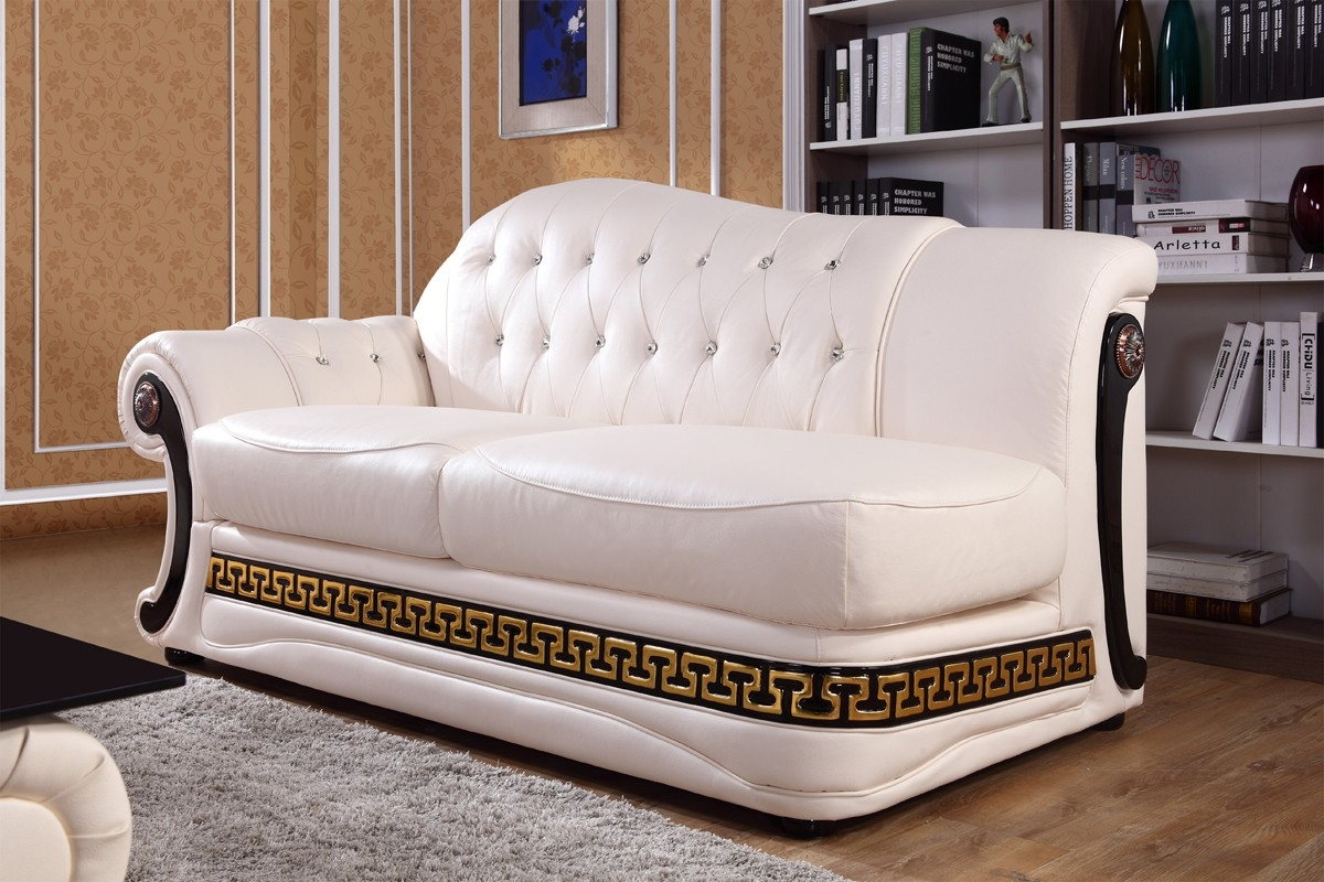 Vgyi Sp T377 Classic Cream Leather Sofa Set Within Classic Sofas For Sale (Image 15 of 15)