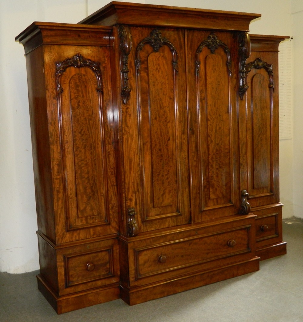 Victorian Mahogany Breakfront Wardrobe 268052 Sellingantiques Throughout Breakfront Wardrobe (Image 10 of 15)