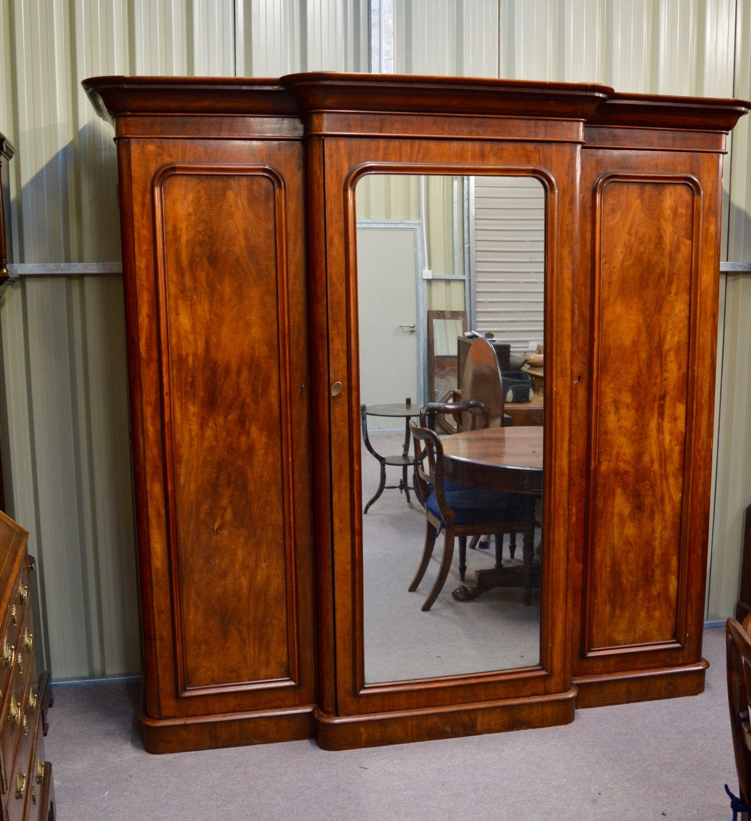 Victorian Mahogany Breakfront Wardrobe Compactum Triple Wardrobe Inside Breakfront Wardrobe (Image 12 of 15)