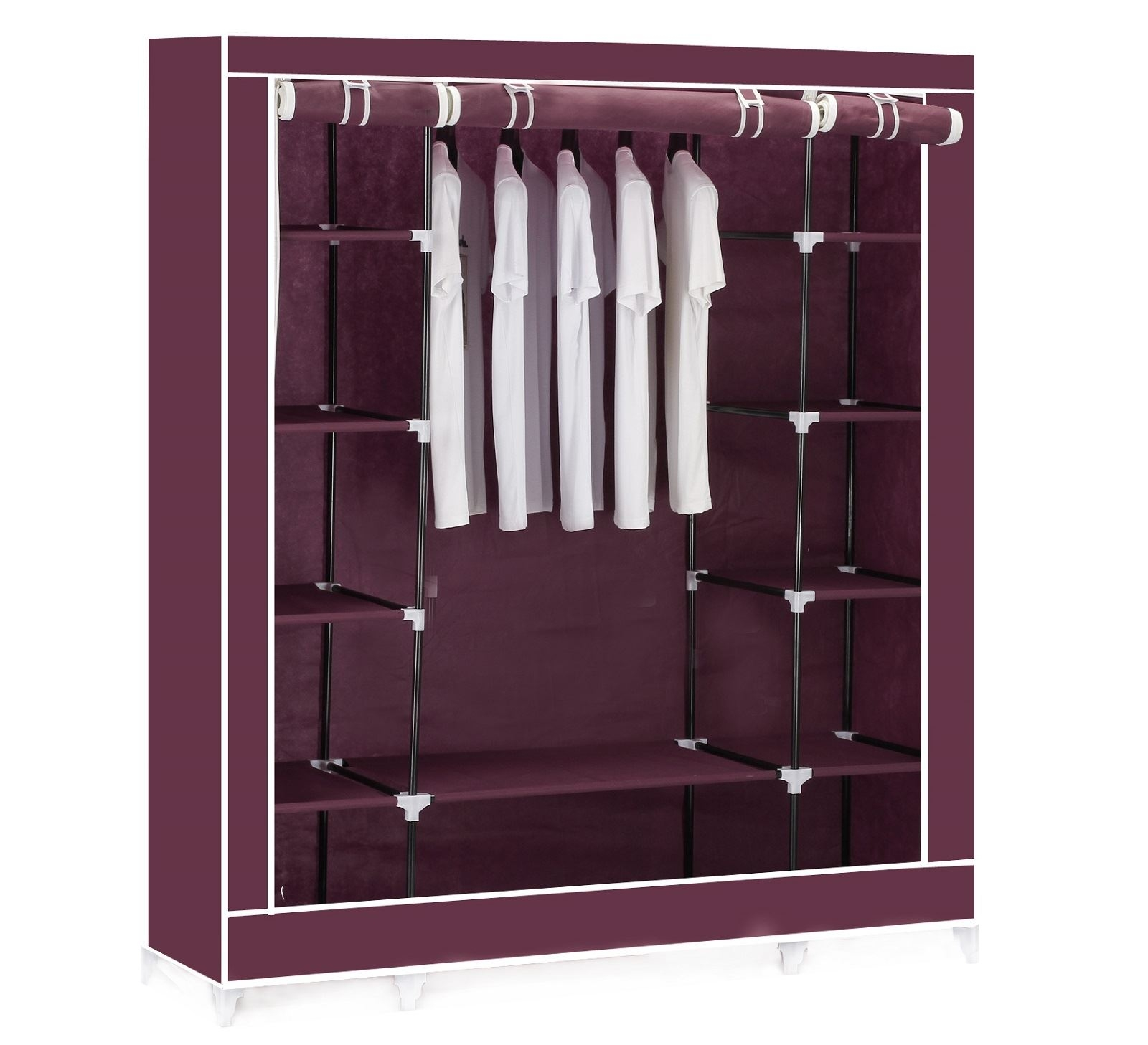 Vinsani Triple Canvas Clothes Wardrobe Hanging Rail With Storage For Wardrobe With Shelves (View 15 of 25)