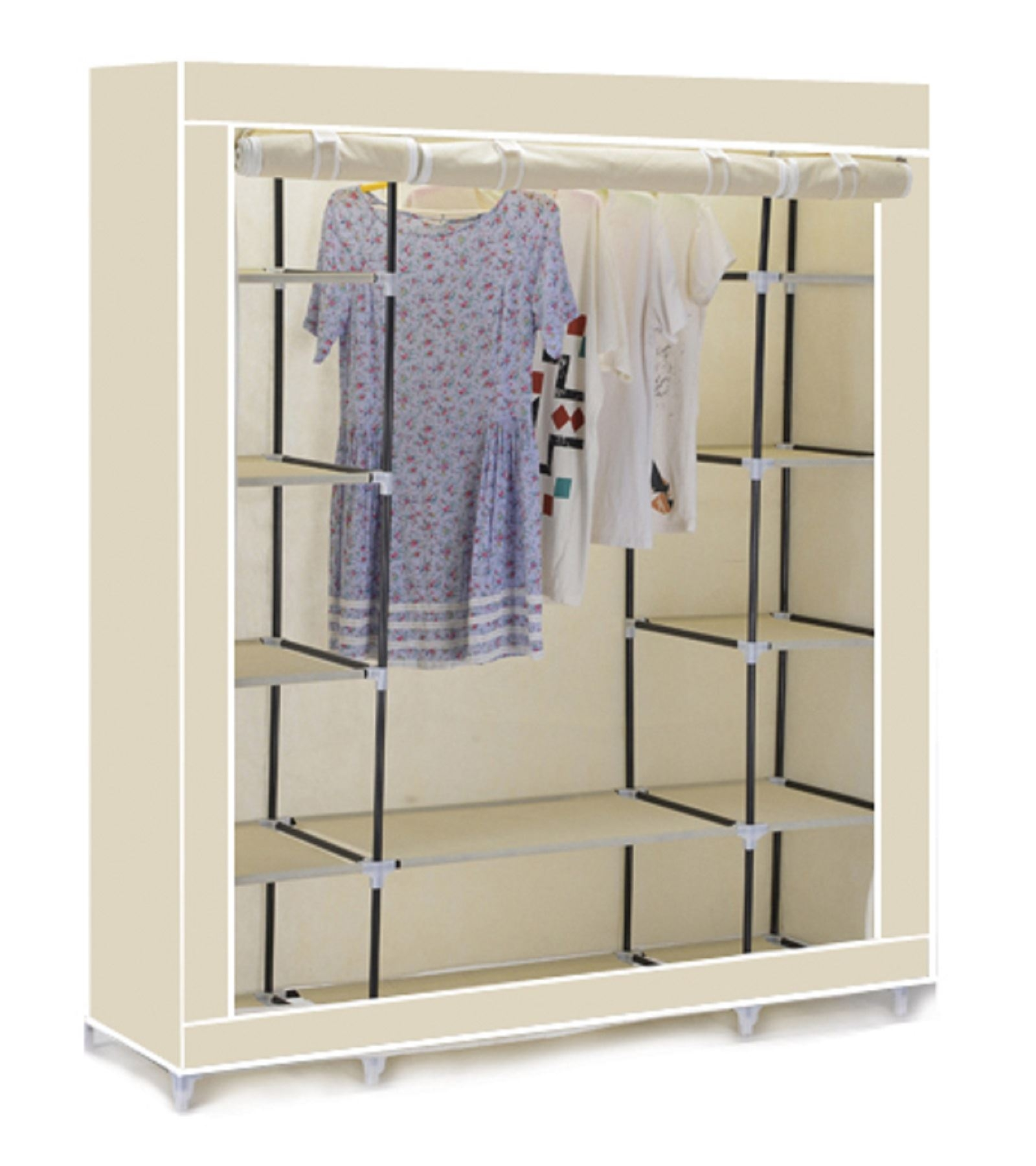 Vinsani Triple Canvas Clothes Wardrobe Hanging Rail With Storage With Hanging Wardrobe Shelves (Image 23 of 25)
