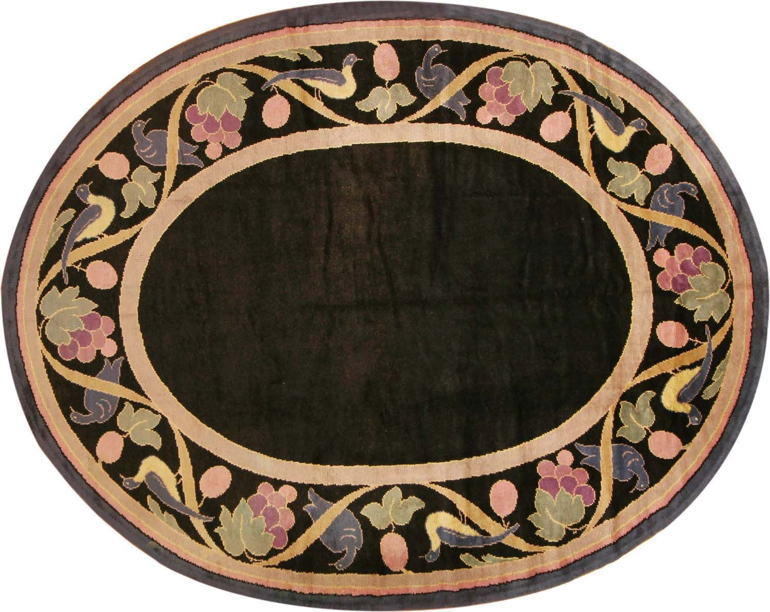 Vintage Art Deco French Oval Rug 1920 Nazmiyal For Oval Rugs (Image 12 of 15)