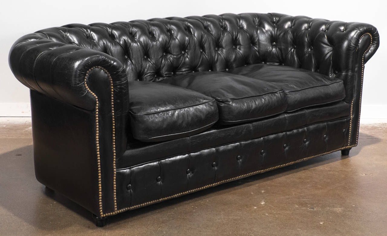 Vintage Black Leather Chesterfield Sofa At 1stdibs For Vintage Chesterfield Sofas (Image 10 of 15)