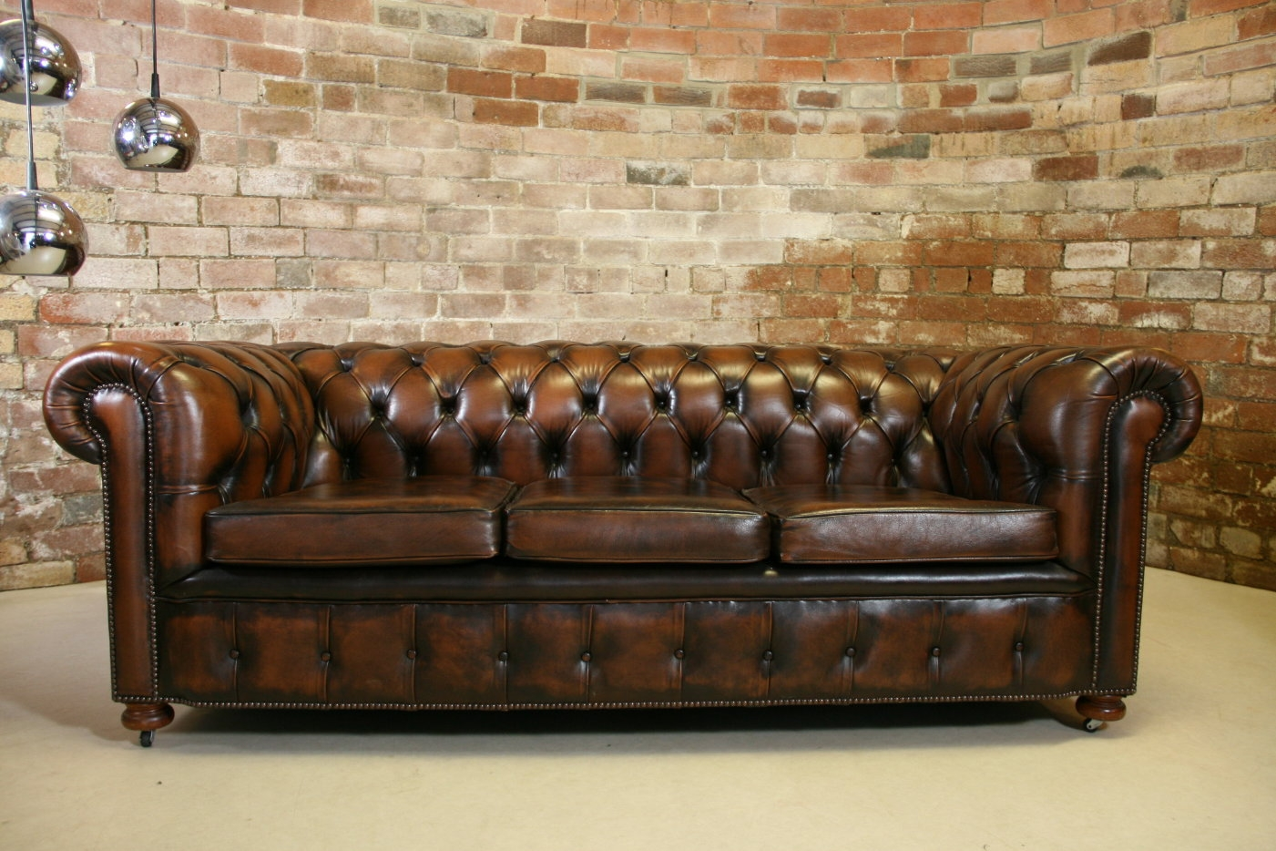 Vintage Chesterfield Antique Brown Leather 3 Seater Sofa Retro Pertaining To Leather Chesterfield Sofas (Image 15 of 15)