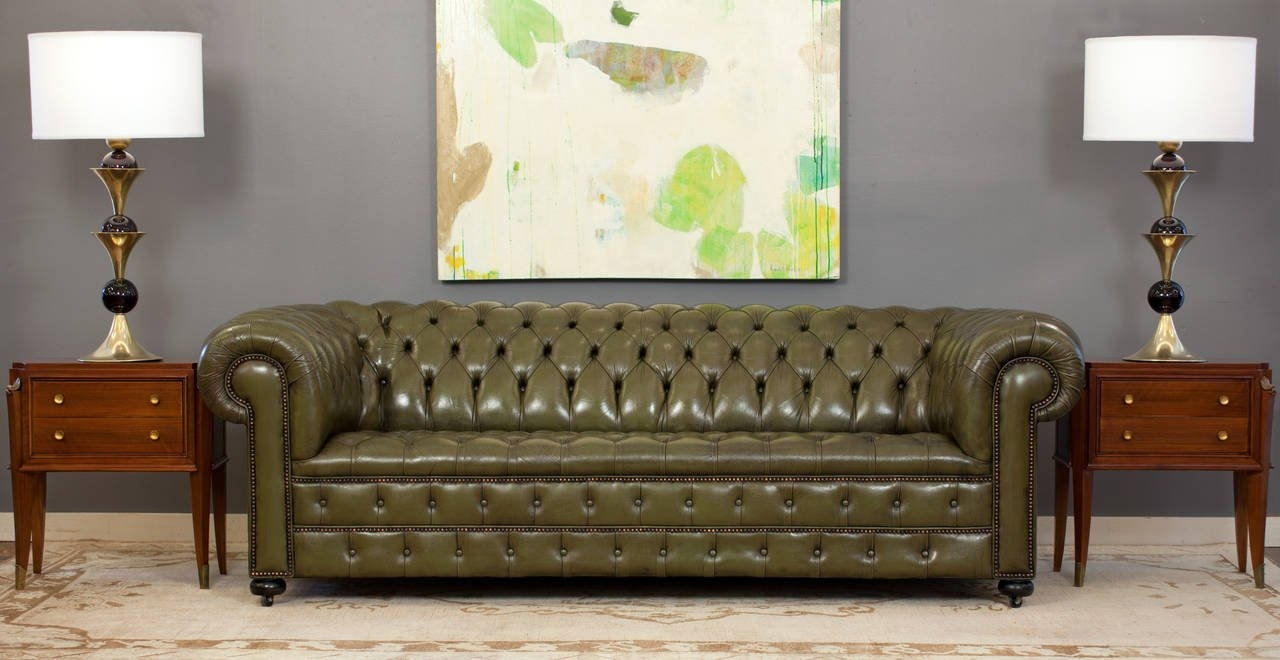 Vintage English Olive Green Leather Chesterfield Sofa At 1stdibs Regarding Vintage Chesterfield Sofas (Image 13 of 15)