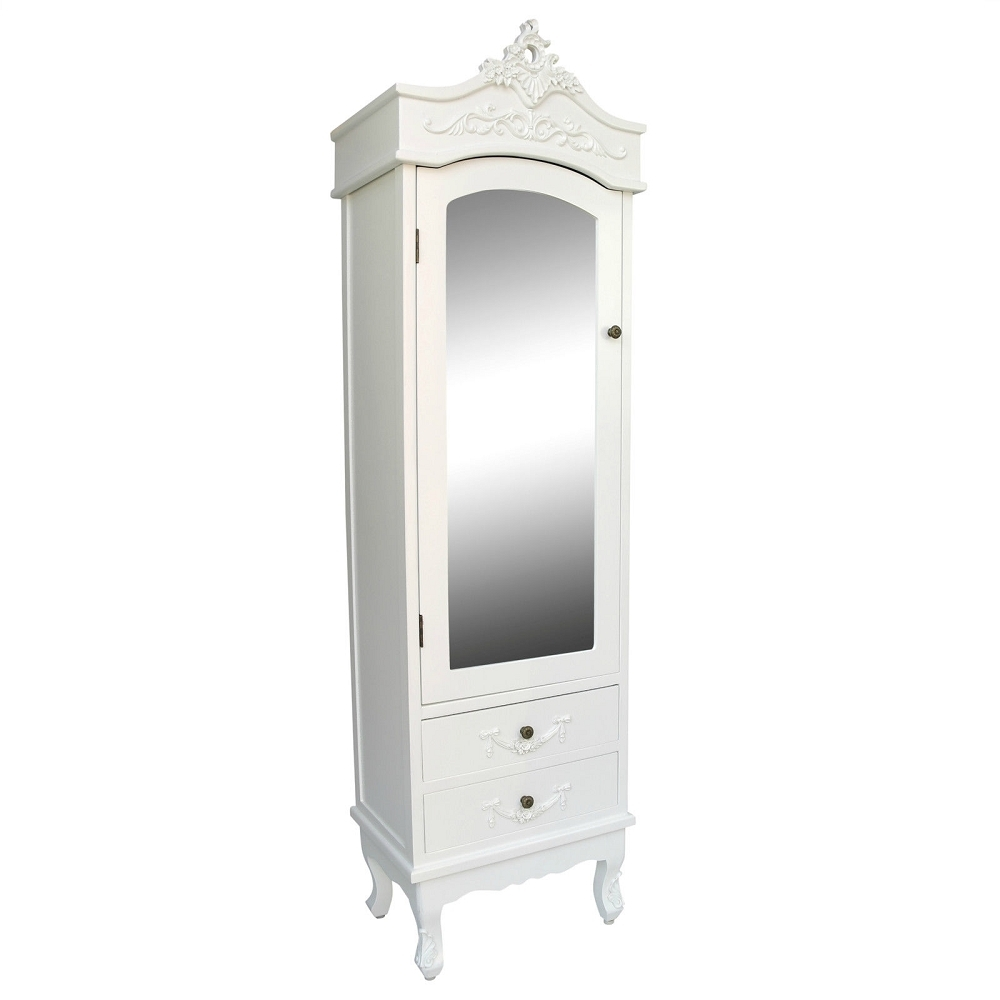 Vintage French Mirrored Wardrobe In White Wardrobe Armoire (Image 20 of 25)