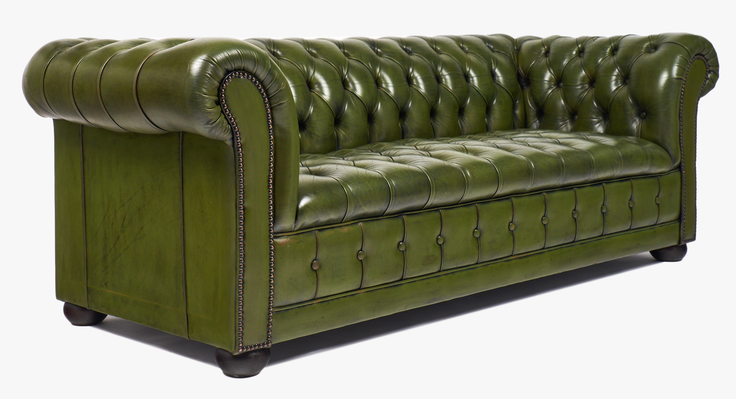 Vintage Green Leather Chesterfield Sofa Jean Marc Fray Throughout Vintage Chesterfield Sofas (Image 14 of 15)