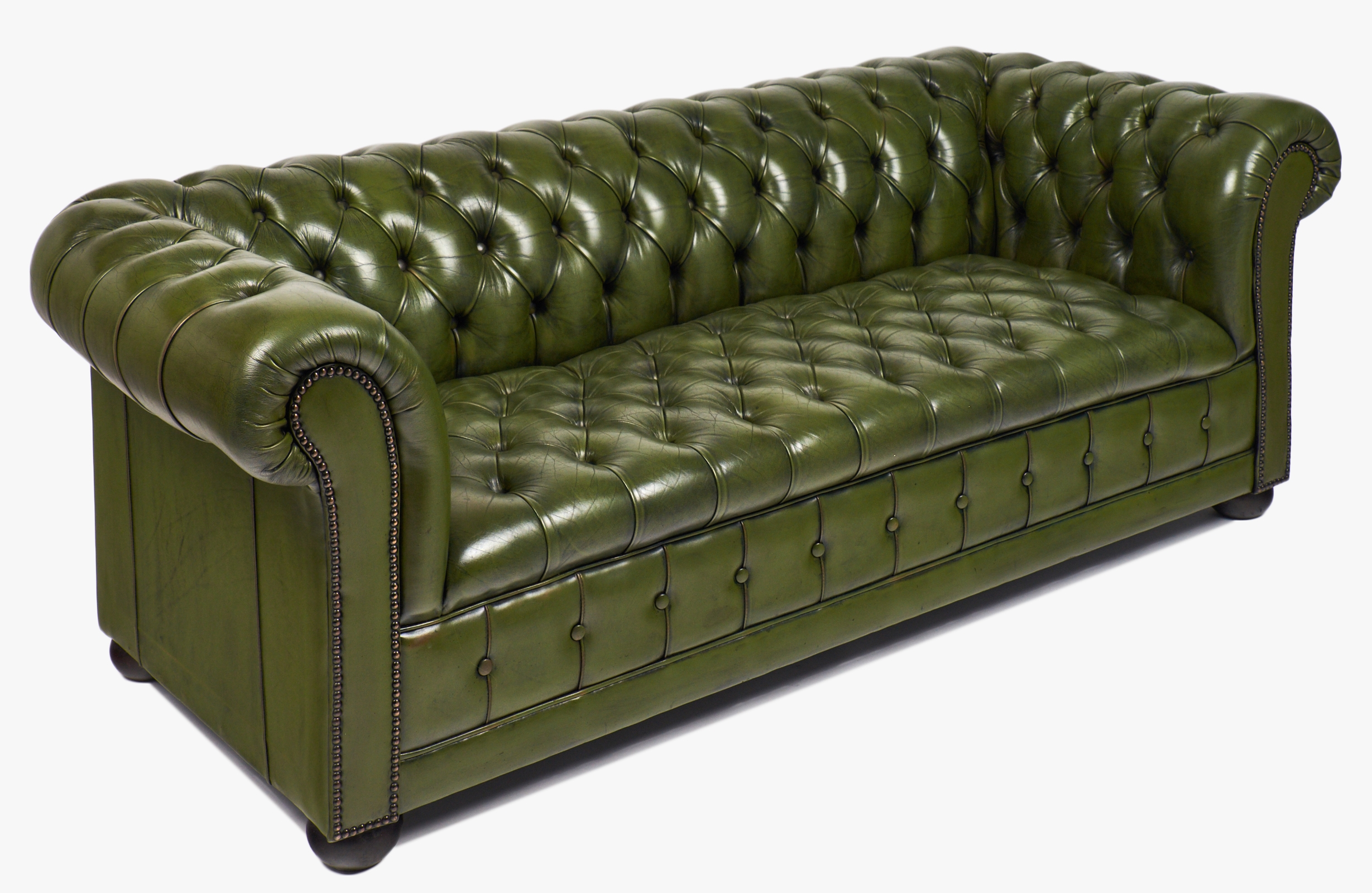 Vintage Green Leather Chesterfield Sofa Jean Marc Fray With Vintage Chesterfield Sofas (Image 15 of 15)