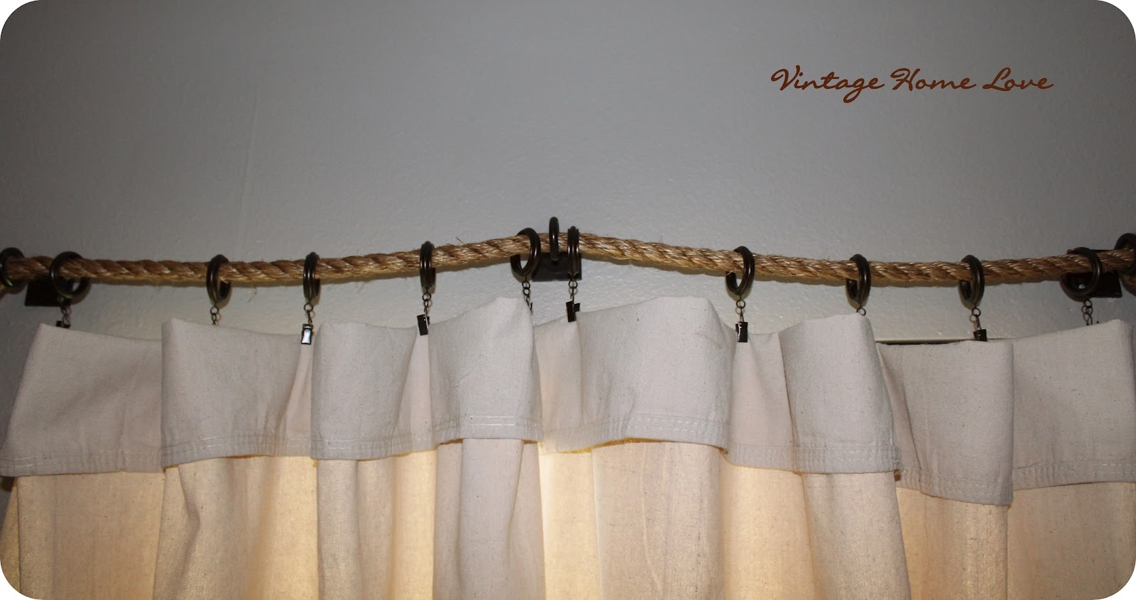 Vintage Home Love Rope Curtain Rod And Diy Curtains In Nautical Curtain Rods (Image 24 of 25)