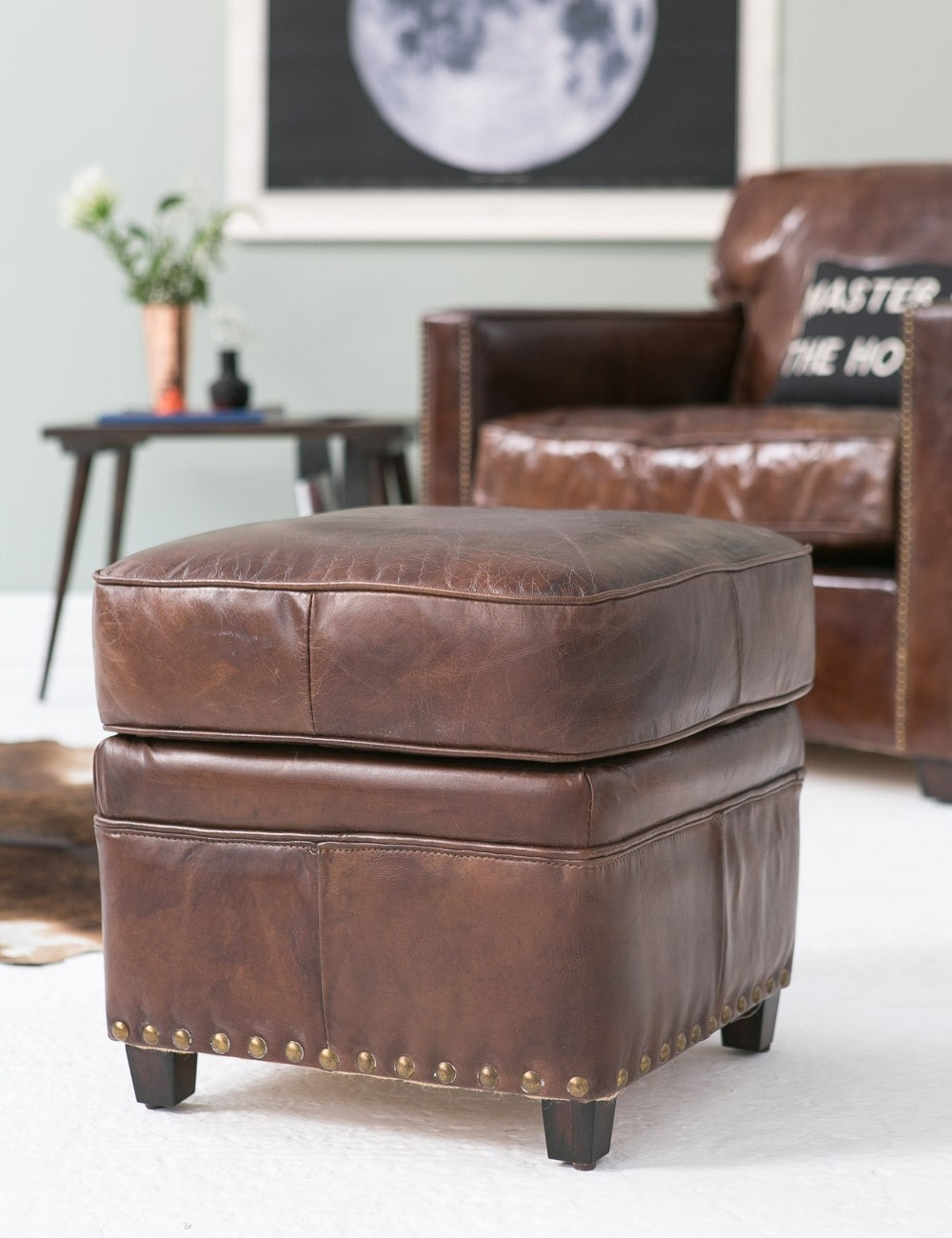 Vintage Leather Footstool Rose Grey With Regard To Leather Footstools (Image 15 of 15)