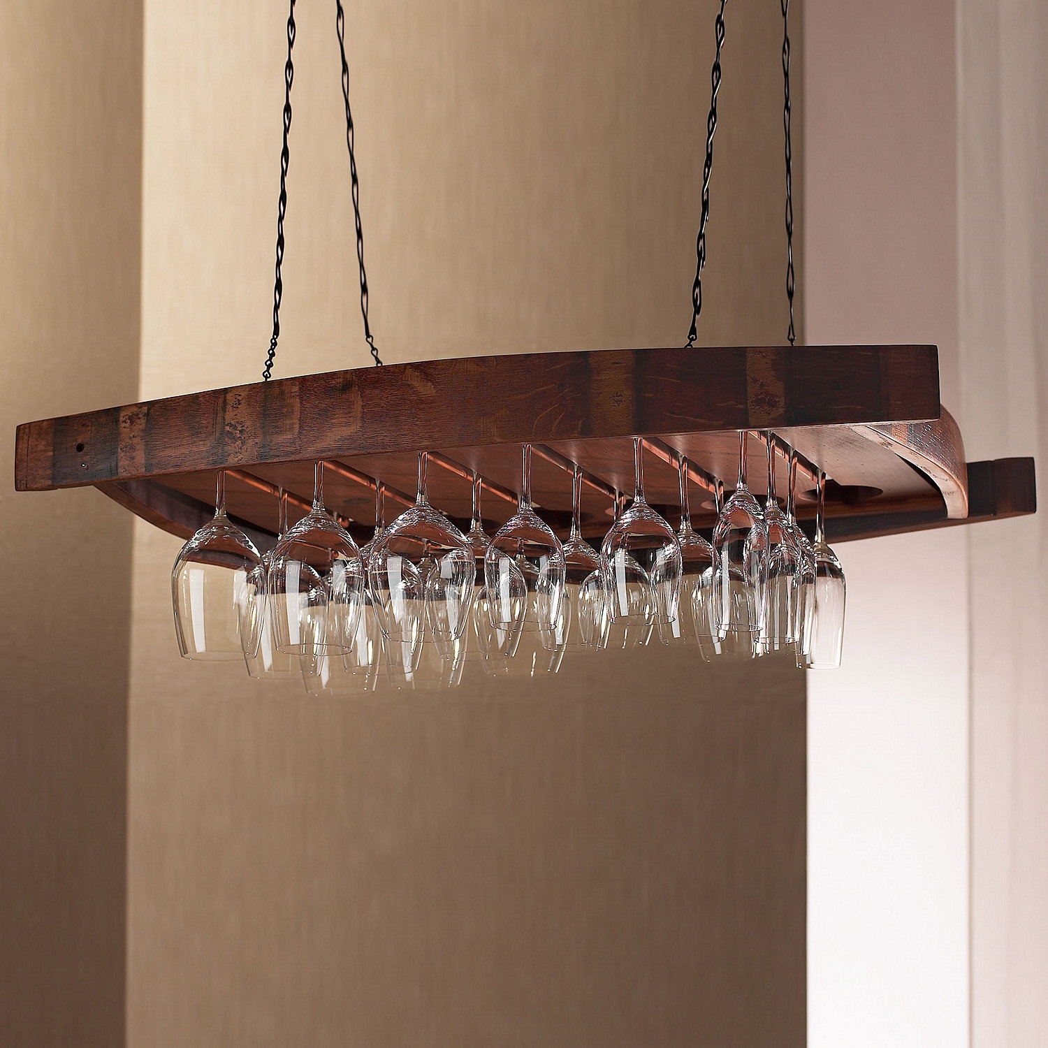 Vintage Oak Hanging Wine Glass Rack Wine Enthusiast In Hanging Glass Shelves From Ceiling (Image 15 of 15)