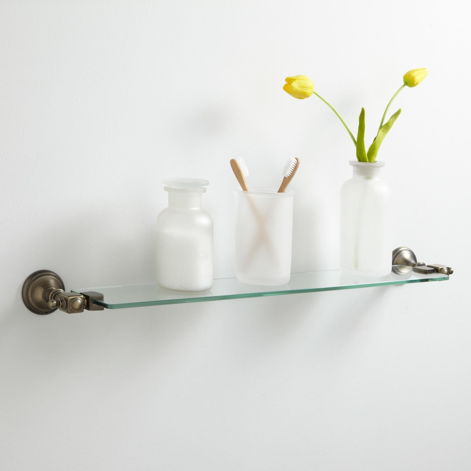 Vintage Tempered Glass Shelf Bathroom With Glass Shelves (Image 13 of 15)