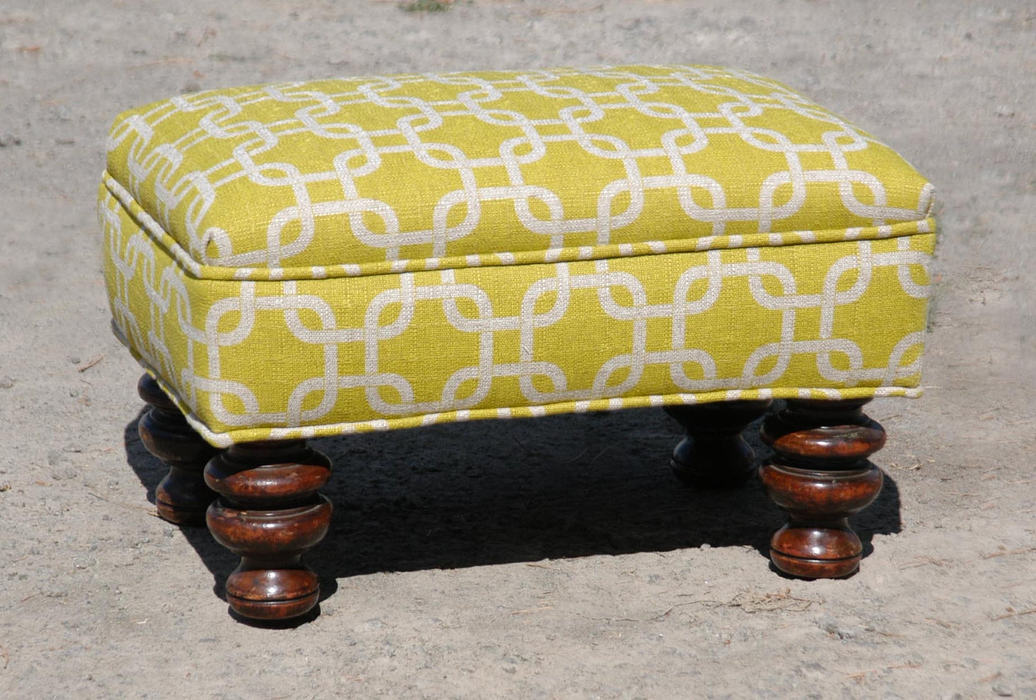 Vintage Upholstered Footstool Regarding Upholstered Footstools (Image 15 of 15)