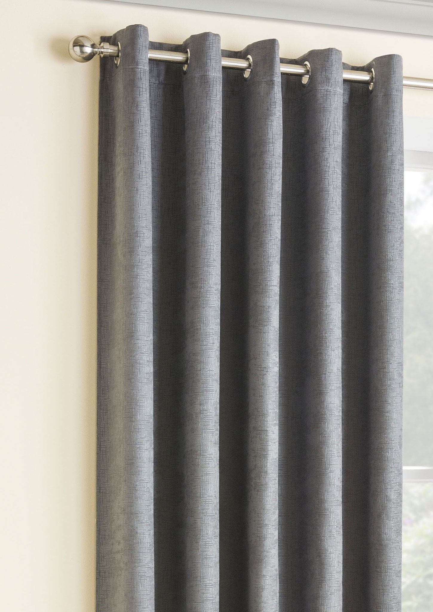 Vogue Grey Blackout Eyelet Curtains Intended For Grey Eyelet Curtains (Image 24 of 25)