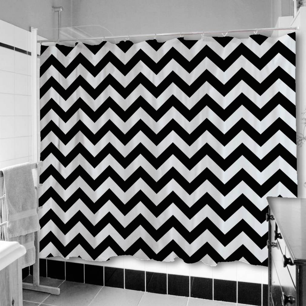 Wall Decor Beautiful Chevron Curtains For Curtains Inspiration Within Gray Chevron Shower Curtains (Image 23 of 25)