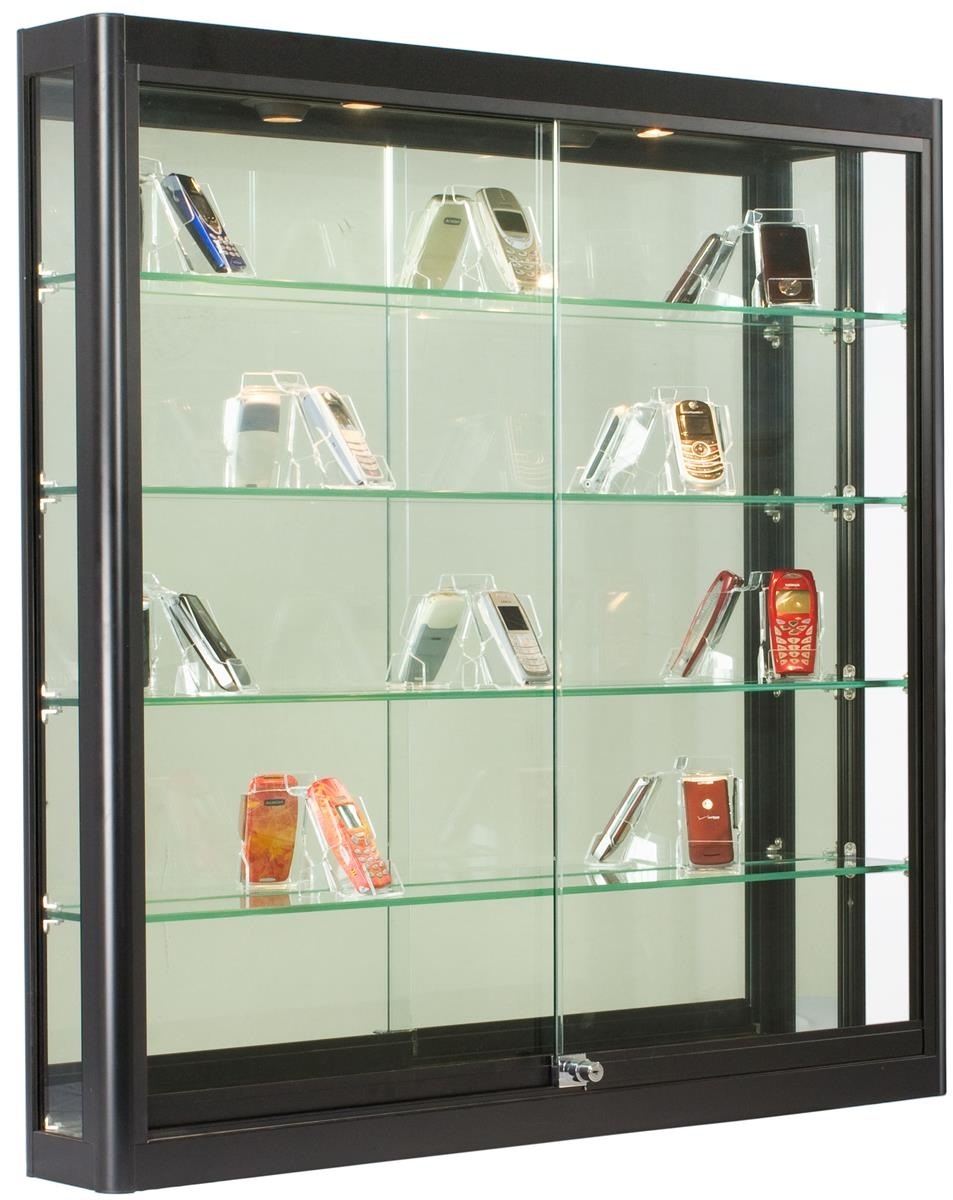 Wall Display Case Black Finish Ships Fully Assembled Intended For Wall Mounted Glass Display Shelves (Image 9 of 15)