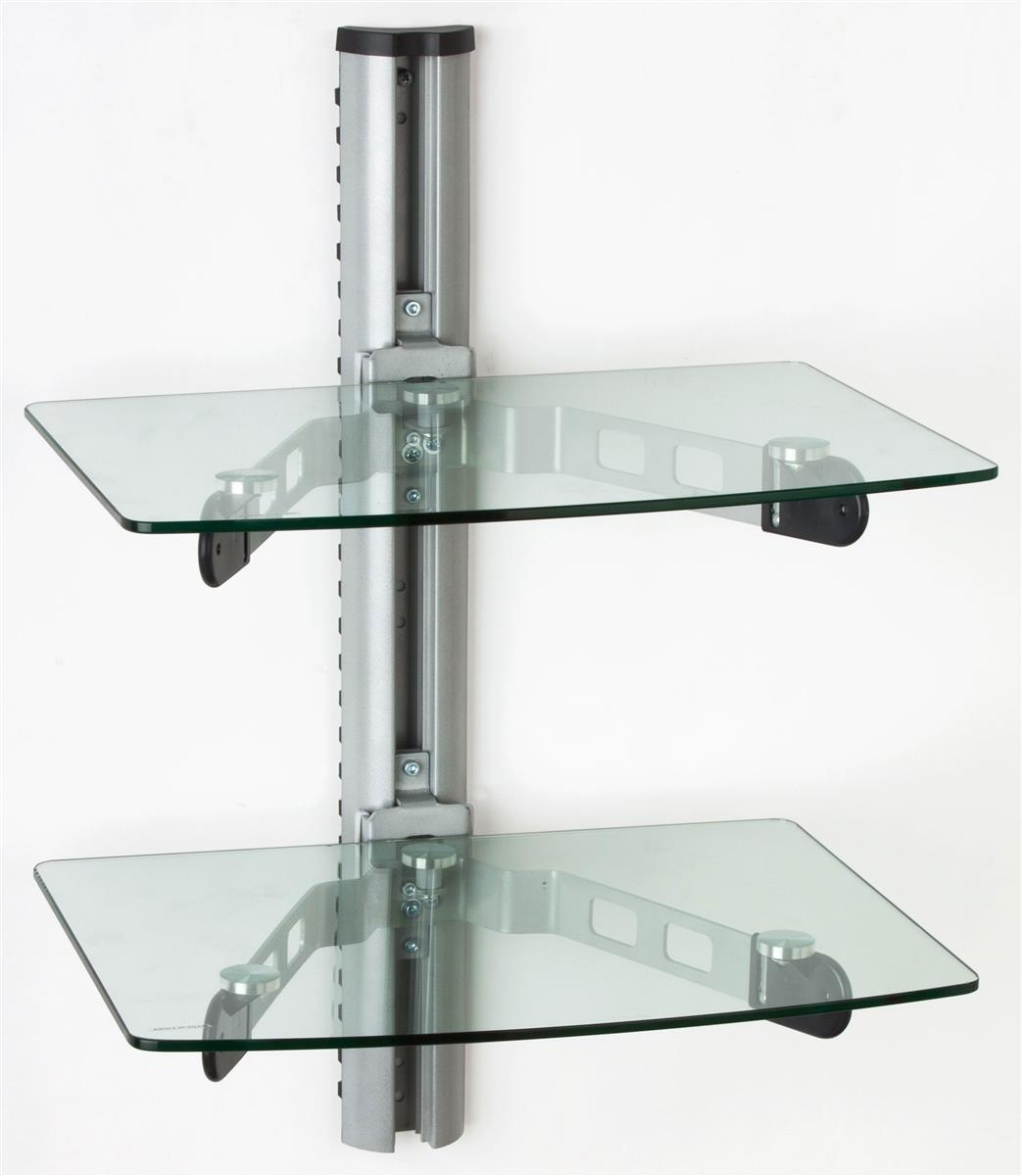 Wall Mounted Glass Shelves Av Component Stand Within Glass Wall Mount Shelves (View 10 of 15)