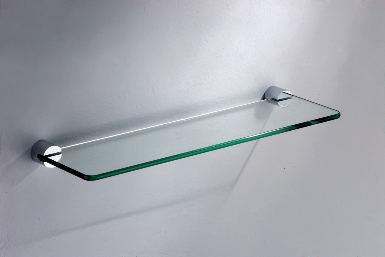Wall Mounted Glass Shelves Cymun Designs In Glass Shelf Brackets Floating On Air (Image 15 of 15)