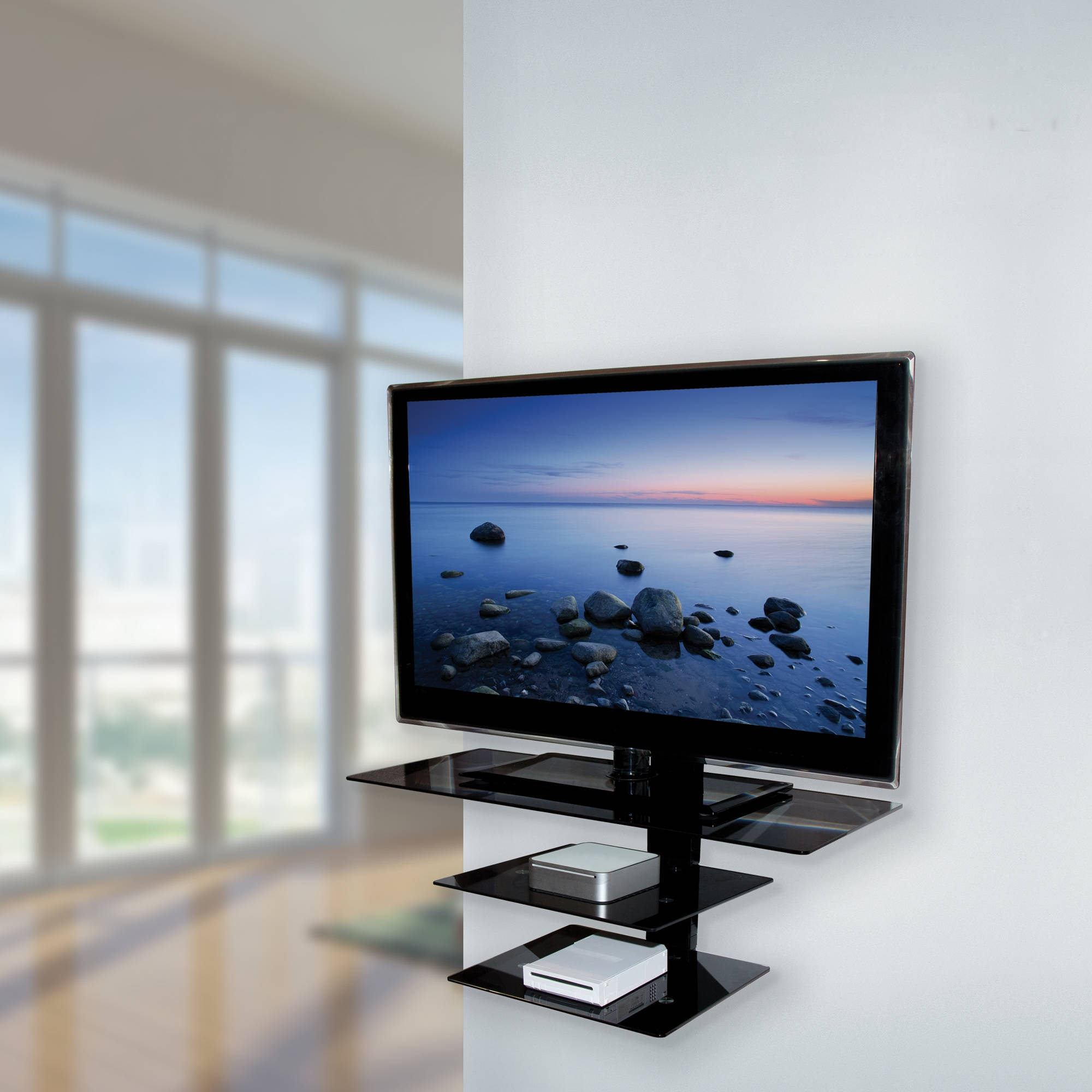Wall Shelves Design Fabulous Glass Tv Shelves Wall Mount Flat Regarding Black Glass Shelves Wall Mounted (Image 14 of 15)