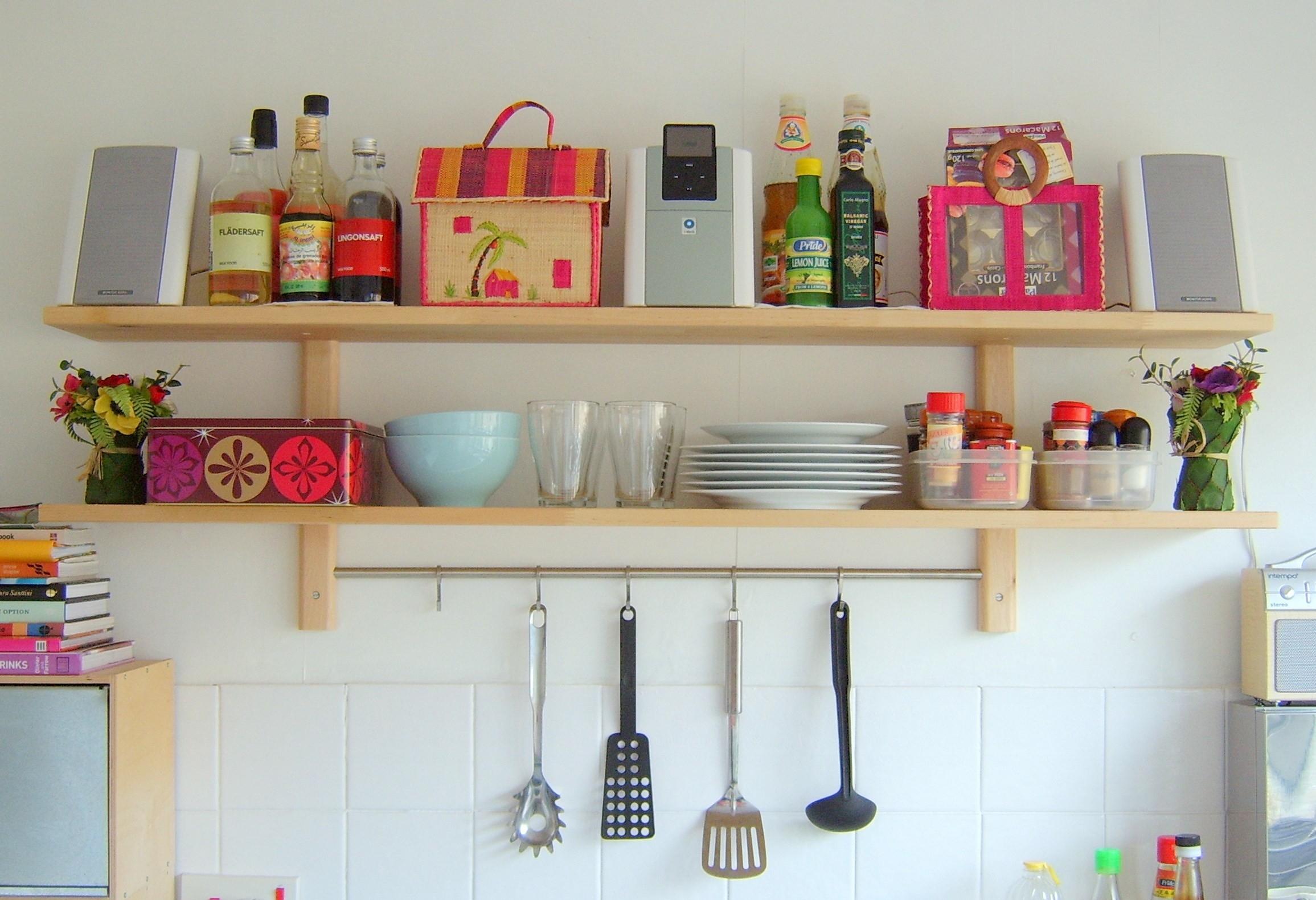 Wall Shelves Design Modern Wall Mounted Wood Kitchen Shelves Regarding Kitchen Shelves (View 11 of 15)