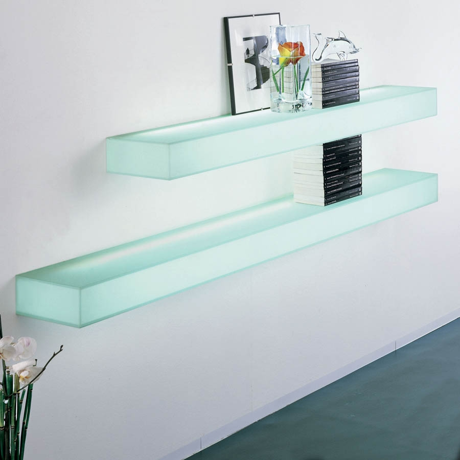 Wall Shelves Design New Collection Floating Glass Shelves Wall Within Wall Mounted Glass Shelf (Image 15 of 15)