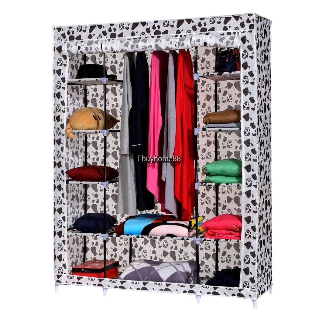 Wardrobe Armoire Closet Fabric Storage Clothes Bedroom Organizer Within Hanging Wardrobe Shelves (Image 24 of 25)