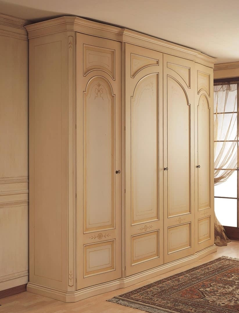 Wardrobe With Curved Side Doors For Classical Bedroom Idfdesign Intended For Curved Wardrobe Doors (Image 14 of 15)