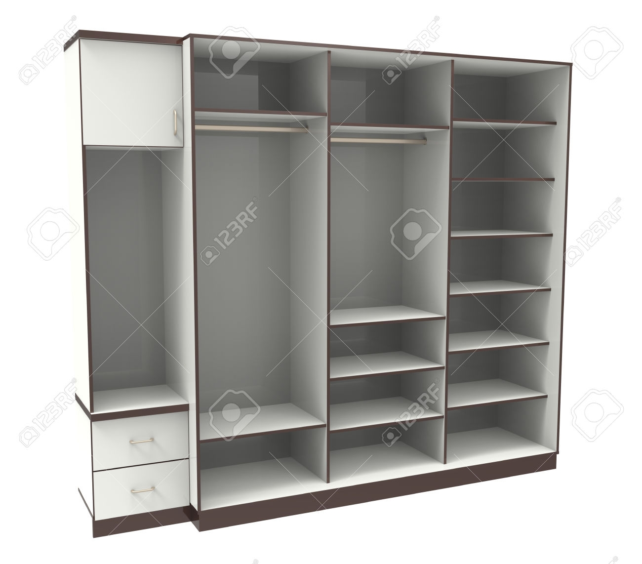 Wardrobe With Shelves On A White Stock Photo Picture And Royalty Pertaining To Wardrobe With Shelves (View 13 of 25)