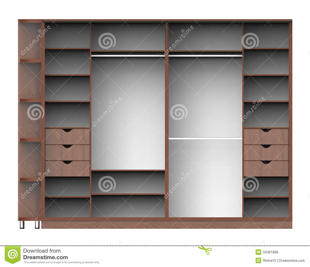 Wardrobe With Shelves Royalty Free Stock Photos Image 34361868 Within Wardrobe With Shelves (View 11 of 25)