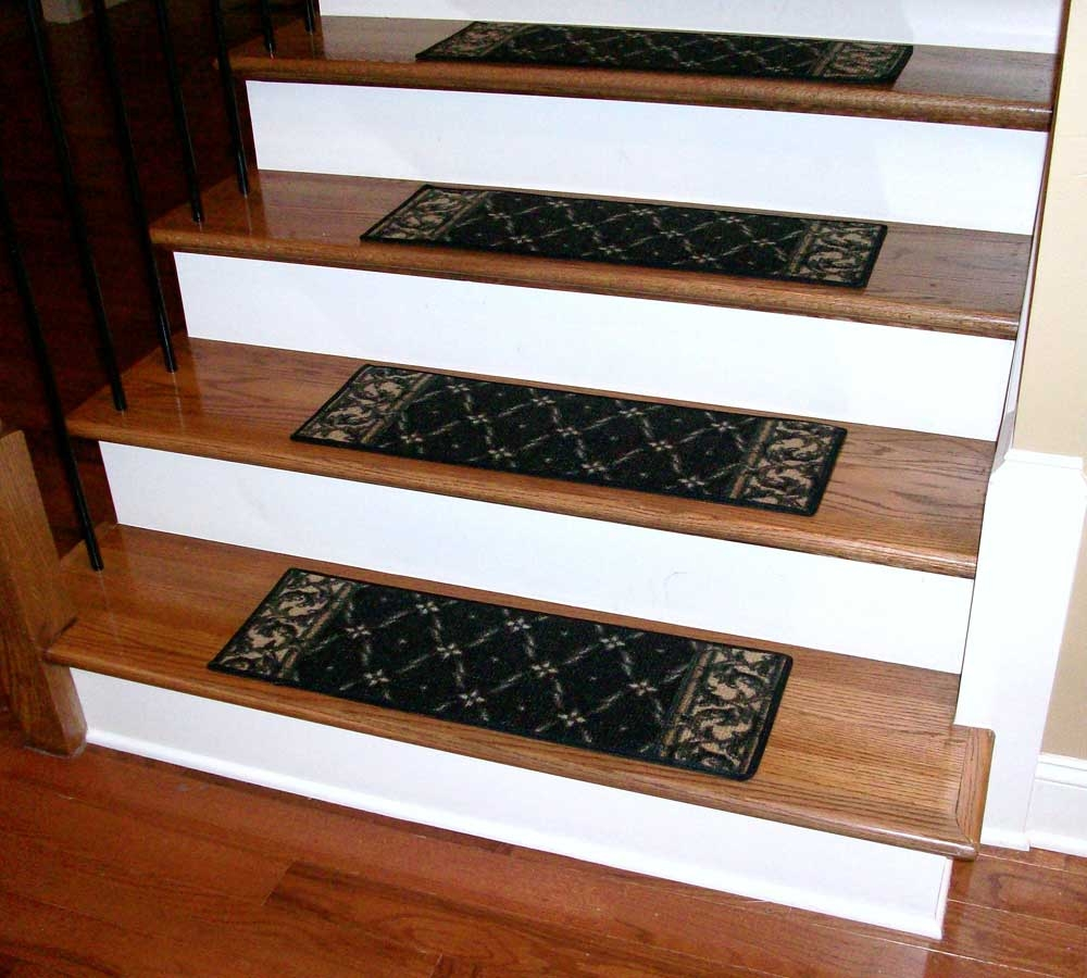 Washable Carpet Stair Treads Trellis Black Regarding Stairway Carpet Treads (Image 15 of 15)